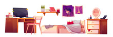 Girl Bedroom Interior Set Isolated On White Background. Vector Cartoon Furniture For Teenager Room, Unmade Bed, Workspace For Study With Desk And Computer, Bookshelf, Pictures And Nightstand