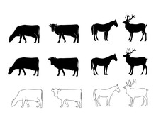 Vector Silhouette Of Cow Horse...