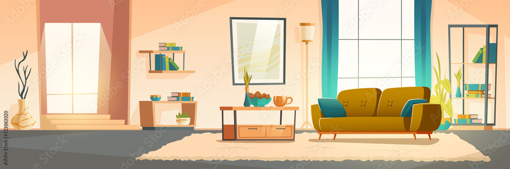Fototapeta Living room interior with sofa, bookshelves and plants. Vector cartoon illustration of modern lounge with big window, blue curtains, carpet and picture on wall