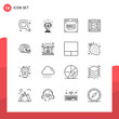 Pack of 16 Universal Outline Icons for Print Media on White Background.
