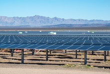 A Field Of Solar Panels In A Rapidly Growing Solar Energy Development Corridor In The Mojave Desert.