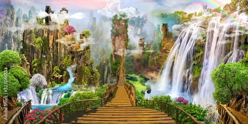 Fantasy landscape. fairy world, digital mural - 323066833