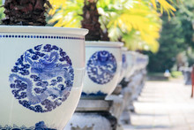 Traditional Asian Pots With Pa...