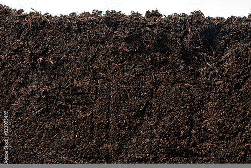 Tablou Canvas Soil or dirt section isolated on white background