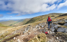 A Hiker Walking Their Dog On A Lead In The Lake District Mountains, UK, Towards The Summit Of Rest Dodd With Bannerdale Beck Far Below.