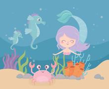 Mermaid Seahorses Crab Coral Sand Cartoon Under The Sea