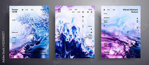 Fototapeta Abstract liquid placard, fluid art vector texture pack. Trendy background that applicable for design cover, invitation, presentation and etc. Blue, purple and white universal trendy painting backdrop obraz