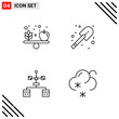 Pixle Perfect Set of 4 Line Icons. Outline Icon Set for Webite Designing and Mobile Applications Interface.