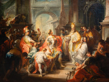 Vienna, Austria. 2019/11/7. Saint Ambrose Barring Emperor Theodosius From The Milan Cathedral. C. 1750. Oil On Canvas. By Johann Wolfgang Baumgartner (1702–1761). Belvedere Museum, Vienna, Austria.