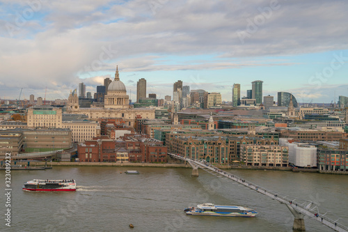 London skyline with St Paul's cathedral and river Thames Wallpaper Mural