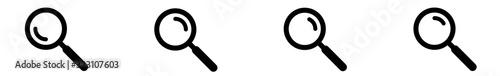 Photo Magnifying Glass Icon Black | Magnifier Illustration | Zoom Symbol | Loupe Logo
