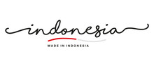 Made In Indonesia Handwritten Calligraphic Lettering Logo Sticker Flag Ribbon Banner
