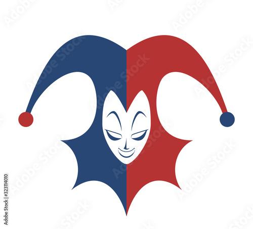 Slika na platnu Design of funny harlequin illustration