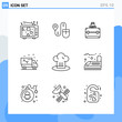 Modern 9 Line style icons. Outline Symbols for general use. Creative Line Icon Sign Isolated on White Background. 9 Icons Pack.
