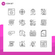 Outline Icon set. Pack of 16 Line Icons isolated on White Background for responsive Website Design Print and Mobile Applications.