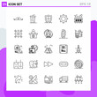 Set of 25 icons in Line style. Creative Outline Symbols for Website Design and Mobile Apps. Simple Line Icon Sign Isolated on White Background. 25 Icons.