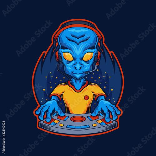Foto Gamer Alien vector illustration