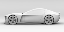Side View Of Electric Powered Sports Coupe In Clay Rendering Style. 3D Rendering Image.
