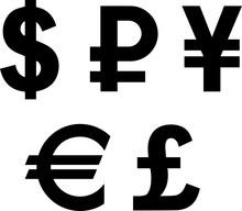 Symbols Of Major World Currencies; Dollar, Euro, Yen, Pound, Ruble; Black On Transparent Background