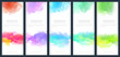 Set of light colorful vector watercolor vertical backgrounds for banner or flyer