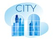 Town Panoramic Skyline Background. Cityscape in Apartments Window View. Urban Landscape with Modern Architecture Buildings, Skyscrapers in Blue Tints. Minimalist Trendy Flat Vector Illustration.
