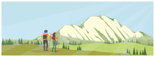 Panoramic Vector Landscape Of Young Couple At Mountain Trail, A Famous Mountain In America, Tree, Forest Flower.Mt. Rainier National Park, USA.u,Spring Summer Adventure Or People Activities Concept.