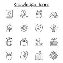 Knowledge, Wisdom, Creativity, Idea Icon Set In Thin Line Style