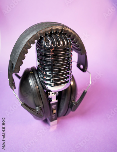 Photo Audiophile Gear Chrome Vintage Microphone Audio Music Headphones Listening Devic