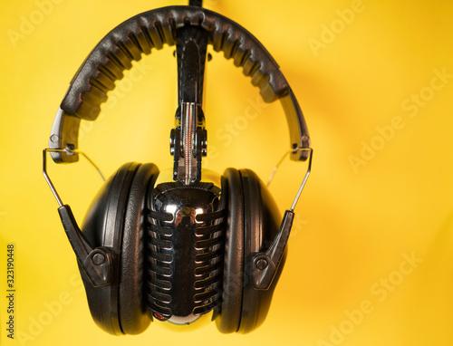 Audiophile Gear Chrome Vintage Microphone Audio Music Headphones Listening Devic Wallpaper Mural