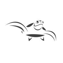 Vector Of Turtle Black Design On A White Background. Reptile. Animals. Sea Creatures. Illustration.