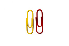 Yellow And Red Paperclip