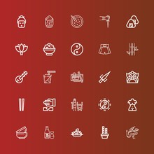 Editable 25 Asian Icons For We...