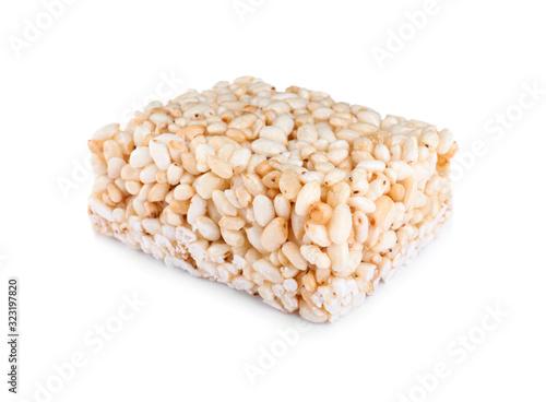 Fototapeta Bar of delicious rice crispy treat isolated on white obraz