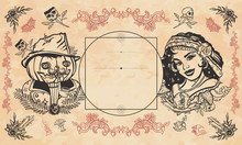 Halloween Vintage Background. Witch Woman, Crystal Ball And Jack O' Lantern. Occult Esoteric Template. Dark Gothic Fairy Tale Style