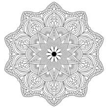 Star Flower Mandala For Colori...