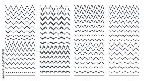 Photo Set of Zigzag Wavy and Curvy Horizontal Lines
