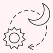 Sun and moon thin line icon. Day and night timelapse sign. Astronomy vector design concept, outline style pictogram on white background, use for web and app. Eps 10.