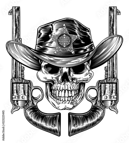 Cowboy grim reaper skull in western hat with star sheriff bagde drawing in a vin Canvas Print