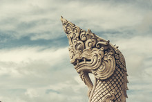 A Serpentine Dragons Head At The Big Buddha Statue In Phuket Thailand
