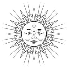 Line Art Sun In Antique Stule ...