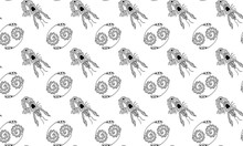 Seamless Pattern Of Black And ...