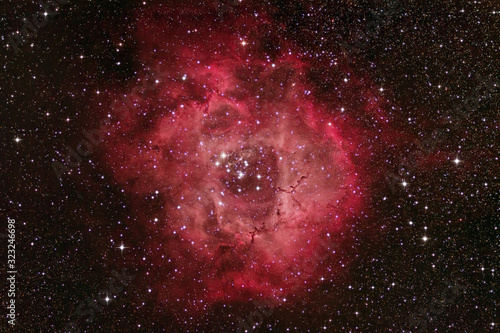 Rosette Nebula NGC 2244, Space nebula inside the unicorn constellation captured with a telescope and a DSLR camera Canvas Print