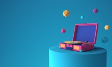 Abstract Colorful Vinyl Player...