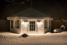 Small Shed At Night In Winter, Canada