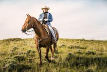 Cowgirl On Horseback Herding C...