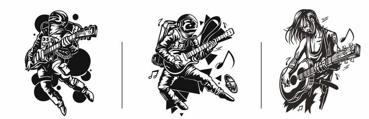 Set of T-shirt Design Astronaut in Playing Guitar, Hand Drawn Sketch Grunge illustration.