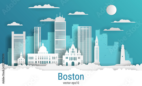 Paper cut style Boston city, white color paper, vector stock illustration Wallpaper Mural