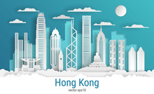 Paper Cut Style Hong Kong City...