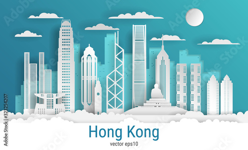 Photographie Paper cut style Hong Kong city, white color paper, vector stock illustration
