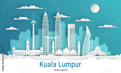 Paper cut style Kuala Lumpur city, white color paper, vector stock illustration Canvas Print